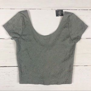 NWT Abercrombie & Fitch Low Back Crop Top Gray S